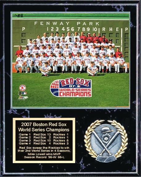 Boston 2007 Team Sitdown  World Series Plaque 12x15 Black Marble Red Sox