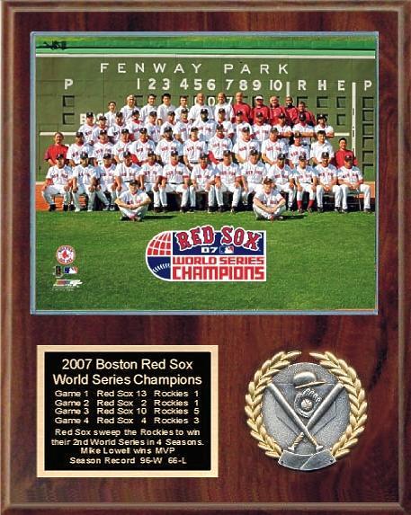 Boston 2007 Team Sitdown Plaque World Series 12x15 Walnut Style