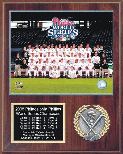 Phillies 2008 Champs Plaque Walnut Style 12x15 World Series Team