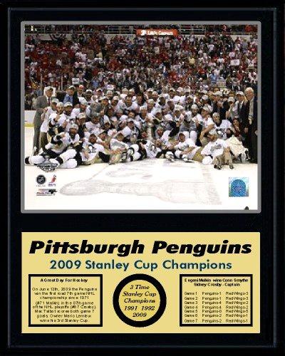 Penguins 2009 Celebration Team Stanley Cup Champions 12x15 MATTE BLACK Plaque