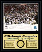 Penguins 2009 Celebration Team Stanley Cup Champions 12x15 MATTE BLACK Plaque