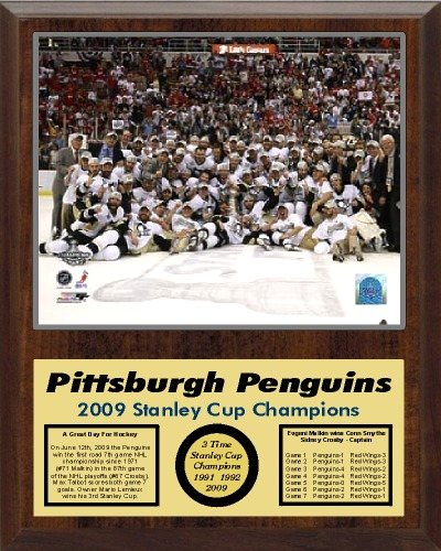 Penguins 2009 Celebration Team Stanley Cup Champions 12x15 WALNUT Style Plaque