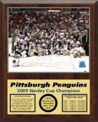 Penguins 2009 Celebration Team Stanley Cup Champions 12x15 WALNUT Style Plaque