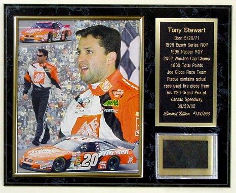 Tony Stewart Tire Plaque