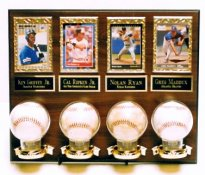 4 Ball & 4 Card Plaque Display (Balls & Cards Not Included)-  2 lines FREE ENGRAVING