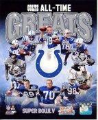 Johnny Unitas, Marshall Faulk, Peyton Manning, Dwight Freeney, Ray Berry, Reggie Wayne All Time Greats Colts SATIN 8X10 Photo