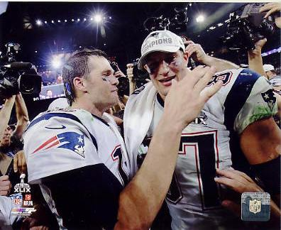 Rob Gronkowski & Tom Brady Super Bowl 49 New England Patriots SATIN 8X10 Photo