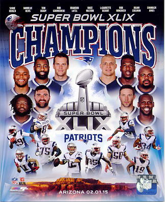Patriots 2015 Super Bowl 49 Champions Composite SATIN 8X10 Photo