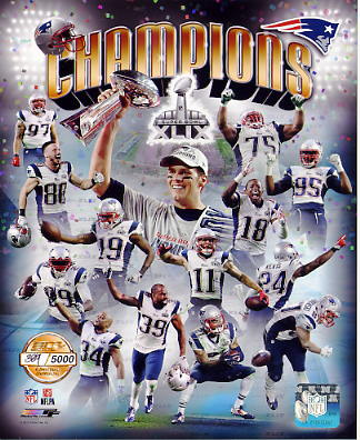 Patriots 2015 Super Bowl 49 Champions Numbered Limited Edition SATIN 8X10 Photo