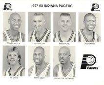 Reggie Miller, Chris Mullin, Mark Pope, Jalen Rose, Rik Smits, Haywoode Workman, Mark West 1997-98 Indiana Pacers Original Press / Photo Wire Photo 8x10
