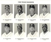 Juan Gonzalez, Tom Goodwin, Rusty Greer, Eric Gunderson, Rick Helling, Roberto Kelly, Esteban Loaiza, Mark McLemore 1999 Texas Rangers Original Press Photo / Wire Photo 8x10