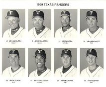 Ed Napoleon, Jerry Narron, Luis Alicea, John Burkett, Mark Clark, Royce Clayton, Tim Crabtree, Ryan Glynn 1999 Texas Rangers Original Press Photo / Wire Photo 8x10