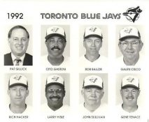 Pat Gillick, Cito Gaston, Bob Bailor, Galen Cisco, Rich Hacker, Larry Hisle, John Sullivan, Gene Tenace 1992 Toronto Blue Jays Original Press Photo / Wire Photo 8x10