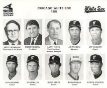 Jim Fregosi, Art Kusnyer, Dick Bosman, Dyar Miller, Doug Rader, Ed Brinkman, Deron Johnson 1987 Chicago White Sox Original Press Photo / Wire Photo 8x10