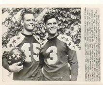 George Morris Georgia Tech & Buck McPhail Oklahoma 1953 All-Stars Charity Game Original Press Photo / Wire Photo w/ Associated Press Stamp on Back 7.5x10