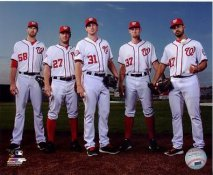 Gio Gonzalez, Jordan Zimmerman, Max Scherzer, Stephen Strasburg, Doug Fister 2015 Washington Nationals SATIN 8X10 Photo