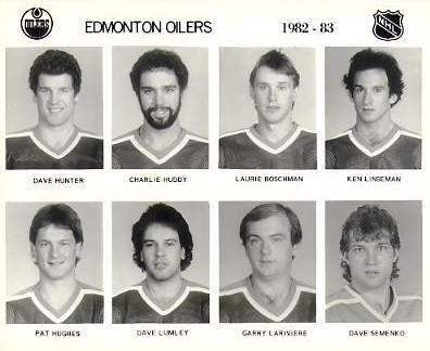 Dave Hunter, Charlie Huddy, Laurie Boschman, Ken Linseman, Pat Hughes, Dave Lumley, Garry Lariviere, Dave Semenko Edmonton Oilers 1982/83 Press Photo / Wire Photo 8x10