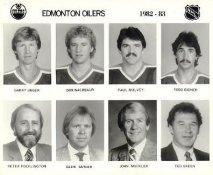 Garry Unger, Don Nachbaur, Paul Mulvey, Todd Bidner, Peter Pocklington, Glen Sather, John Muckler, Ted Green Edmonton Oilers 1982/83 Press Photo / Wire Photo 8x10