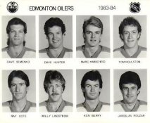 Dave Semenko, Dave Hunter, Marc Habscheid, Tom Roulston, Ray Cote, Willy Lindstrom, Ken Berry, Jaroslav Pouzar  Edmonton Oilers 1983/84 Press Photo / Wire Photo 8x10