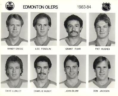 Randy Gregg, Lee Fogolin, Grant Fuhr, Pat Hughes, Dave Lumley, Charlie Huddy, John Blum, Don Jackson Edmonton Oilers 1983/84 Press Photo / Wire Photo 8x10