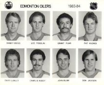 Randy Gregg, Lee Fogolin, Grant Fuhr, Pat Hughes, Dave Lumley, Charlie Huddy, John Blum, Don Jackson Edmonton Oilers 1983/84 Press Photo / Wire Photo 8x10