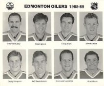 Charlie Huddy, Kevin Lowe, Craig Muni, Steve Smith, Craig Simpson, Jeff Beukeboom, Normand Lacombe, Grant Fuhr Edmonton Oilers 1988/89 Press Photo / Wire Photo 8x10