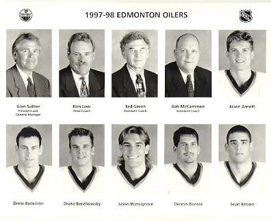 Jason Arnott, Drew Bannister, Drake Berehowsky, Jason Bonsignore, Dennis Bonvie, Sean Brown, Ron Low Coach Edmonton Oilers 1997/98 Press Photo / Wire Photo 8x10