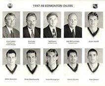 Jason Arnott, Drew Bannister, Drake Berehowsky, Jason Bonsignore, Dennis Bonvie, Sean Brown, Ron Low Coach Edmonton Oilers 1997/98 Press Photo / Wire Photo 8x10