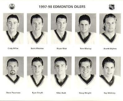 Craig Millar, Boris Mironov, Bryan Muir, Rem Murray, Brantt Myhres, Steve Passmore, Ryan Smyth, Mike Watt, Doug Weight, Ray Whitney Edmonton Oilers 1997/98 Press Photo / Wire Photo 8x10