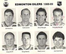 Bill Ranford, Keith Acton, Daryl Reaugh, Kelly Buchberger, Doug Smith, Greg Adams, Reed Larson, Ken Hammond Edmonton Oilers 1988/89 Press Photo / Wire Photo 8x10