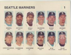 Rich Amaral, Eric Anthony, Bobby Ayala, Mike Blowers, Chris Bosio, Jay Buhner Seattle Mariners Press Photo / Wire Photo 8.5X11