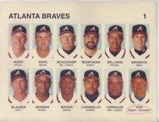 Steve Avery, Brian Bark, Steve Bedrosian, Rafael Belliard, Jeff Blauser, Bobby Cox Atlanta Braves Press Photo / Wire Photo 8.5X11