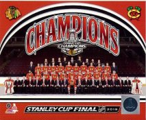 Blackhawks 2015 Stanley Cup Champions Sitdown Chicago SATIN 8x10 Photo