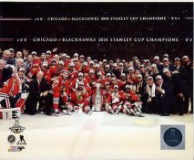 Blackhawks 2015 Stanley Cup Champions Celebration on Ice Chicago SATIN 8x10 Photo