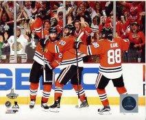 Brandon Saad, Duncan Keith, Patrick Kane 2015 Stanley Cup Game 6 Goal SATIN 8x10 Photo