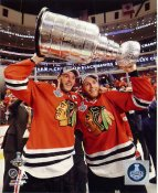 Patrick Kane & Jonathan Toews with 2015 Stanley Cup SATIN 8x10 Photo