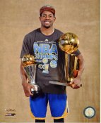 Andre Iguodala with 2015 NBA Champions Trophy & MVP Trophy Golden State Warriors SATIN 8X10 Photo LIMITED STOCK