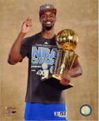 Harrison Barnes with 2015 NBA Champions Trophy Golden State Warriors SATIN 8X10 Photo LIMITED STOCK