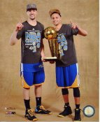 Klay Thompson & Stephen Curry with 2015 NBA Champions Trophy Golden State Warriors SATIN 8X10 Photo LIMITED STOCK