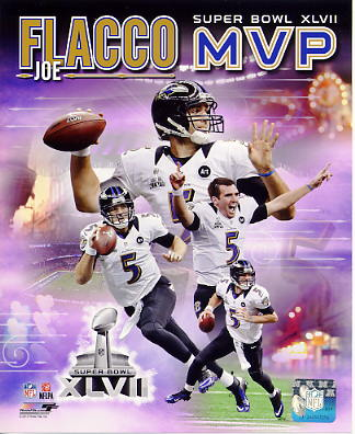 Joe Flacco Super Bowl 47 MVP Baltimore Ravens SATIN 8X10 Photo