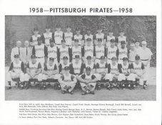 Pirates 1958 Roberto Clemente, Roy Face, Bob Friend, Bill Mazeroski Pittsburgh Original Team Photo Cardstock Comes In Topload 8.5X11 Photo