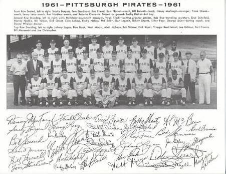 Pirates 1961 Roberto Clemente, Dick Groat, Bob Friend, Bill Mazeroski Pittsburgh Original Team Photo Cardstock Comes In Topload 8.5X11 Photo