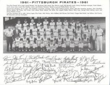 Pirates 1961 Roberto Clemente, Dick Groat, Bob Friend, Bill Mazeroski Pittsburgh Original Team Photo Cardstock Comes In Topload 8.5X11 Photo