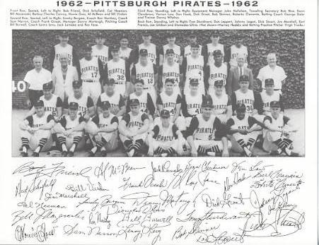 Pirates 1962 Roberto Clemente, Dick Groat, Dick Schofield, Bob Friend, Bill Mazeroski Pittsburgh Original Team Photo Cardstock Comes In Topload 8.5X11 Photo
