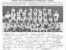 Pirates 1962 Roberto Clemente, Dick Groat, Dick Schofield, Bob Friend, Bill Mazeroski Pittsburgh Original Team Photo Cardstock Comes In Topload 8.5X11 Photo