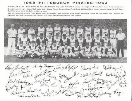 Pirates 1963 Roberto Clemente, Bob Friend, Bill Mazeroski, Roy Face World Series Champions Pittsburgh Original Team Photo Cardstock Comes In Topload 8.5X11 Photo