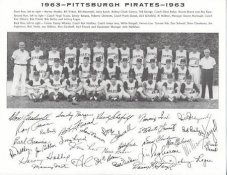 Pirates 1963 Roberto Clemente, Bob Friend, Bill Mazeroski, Roy Face World Series Champions Pittsburgh Original Team Photo Cardstock Comes In Topload 8.5X11 Photo