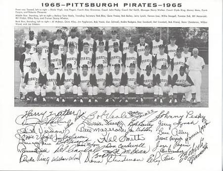 Pirates 1965 Roberto Clemente, Bob Friend, Bill Mazeroski, Willie Stargell, Roy Face World Series Champions Pittsburgh Original Team Photo Cardstock Comes In Topload 8.5X11 Photo