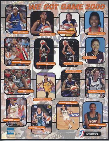 Sonja Henning Seattle Storm, Yolanda Griffith Sacramento Monarchs, Sheri Sam Orlando Magic, Dawn Staley Charlotte Sting 2000 WNBA 8.5X11 Photo LIMITED STOCK
