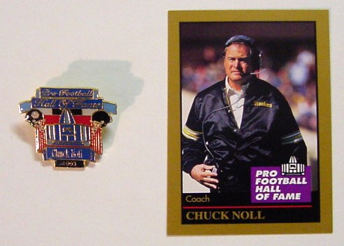 Chuck Noll Hall of Fame Card & Pin Pittsburgh Steelers